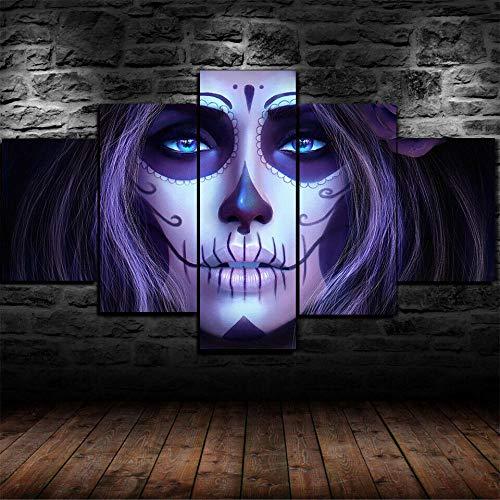 AWER Cuadro en lienzo abstracto moderno impresión de 5 piezas Cráneo de cara Hd Lienzo Decorativo para Tu Sala De Estar Dormitorios Decoración para El Hogar
