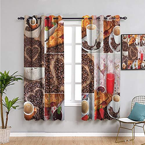 Pcglvie Cortinas opacas para cocina, 114 cm de longitud collage de diferentes fotos, tema de desayuno, croissant café granos y fresas, uso repetible, multicolor (163 x 115 cm)