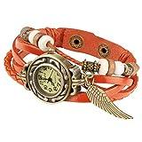 Taffstyle Damen-Armbanduhr Analog Quarz mit Leder-Armband Geflochten Charms Anhänger Uhr Retro Vintage Flügel Gold Orange