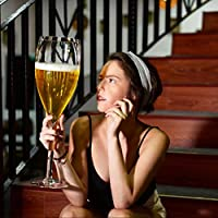 誕生日クリスマスギフトのためのウイスキーカクテルスコッチビールジュースのコップを持つ巨大なワイングラス大白ワイングラスバーパーティークラブバー用の器物 (Size : 3400mL)
