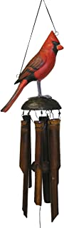 Cohasset Gifts 175CA Cohasset Cardinal Bamboo Wind Chime, Hand Painted Red