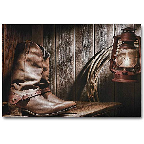 ScottDecor Western Canvas Poster Wall Art Print Modern No Frame Dallas Cowboys and Lantern on a Bench in Vintage Ranch Nostalgic Folkloric Photograph for Wife from Husband Brown L16 x H24 Inc