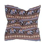 NaiiaN Pañuelo cuadrado de elefante indio de patrones sin fisuras Bulldog para mujeres Damas 60 × 60 CM Ligero Estampado Chal Bufanda Envolturas de cabeza