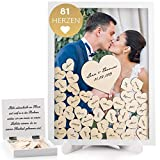 Fairytale Wedding  - Libro de visitas de boda de madera con 81 Corazones, con cristal real, marco de fotos para rellenar con corazones de madera, de alta calidad, marco de madera para escribir