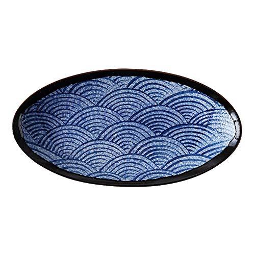 Allamp Mar ondulación Oval Grande Pescado al Vapor Placa de cerámica de Uso doméstico Largo Plate Plato Placa de la Fruta Placa de Ensalada Herramientas de Cocina, adecuadas para Picnic en casa.