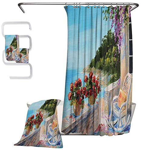 Lakehouse Decor Collection Microfiber Bath Household Goods 4-Piece Bathroom Set Sea View from a Balcony with Cosy Rocking Chair and Flowers in Summer Clear Sky Oil Painting for Wicking Sweat from Han