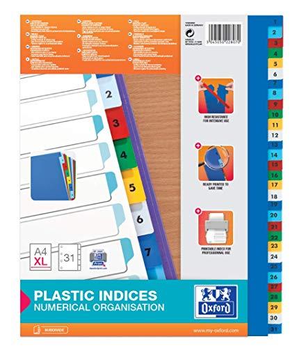 Oxford 100204822 XL Kunststoff-Register Strong-Line Zahlen 1-31 31-teilig A4 Extrabreit für die ideale Ablage von Prospekthüllen