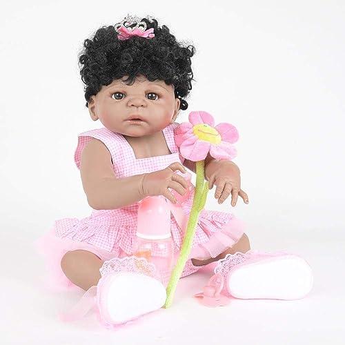 Hongge Reborn Baby Doll,Lebensechte Silikon Reborn Puppe lebensecht Wiedergeburt Baby Spielzeug Weißnachten Geburtstag Geschenk 58cm