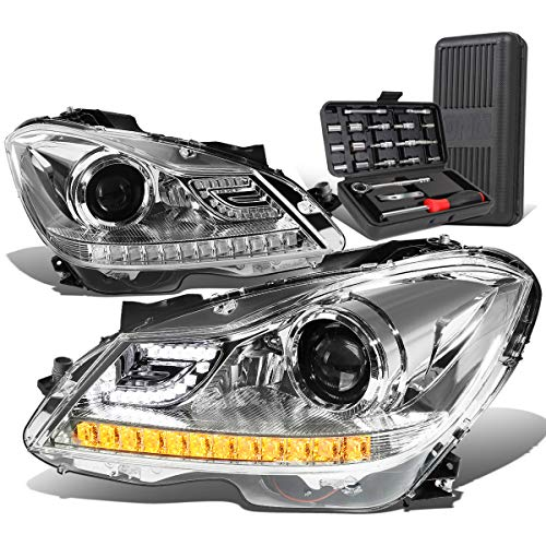 3D LED DRL Projector Headlight Lamps Chrome+Tool Kit Replacement for Mercedes-Benz C-Class W204 11-15