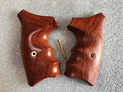 Feelsogood New! Grips Compatible with S&W J Frame Square Butt, Chiefs Special, Smooth and Opened Back,Hard Wood Thai Handmade and Ship from Thailand