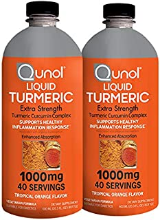 Liquid Turmeric Curcumin, Qunol with Bioperine 1000mg, Joint Support, Dietary Supplement, Extra Strength, 40 Servings, Twin Pack