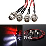 ShareGoo 4Leds LED Light Headlights Taillight Kit Accessories Compatible with Traxxas HSP Tamiya Redcat RC4WD Axial SCX10 RC Car Truck Tank Crawler(2 Red +2 White)