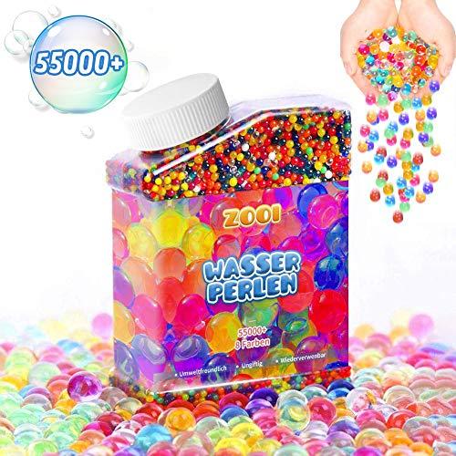 ZOOI 55000 Stück Wasserperlen für Kinder - Aquaperlen Mix Wassergel-Kugeln Aqualinos für Kinder, Deko für Hochzeit Party Geburtstag Basteln Weihnachten Vasen Dekoration