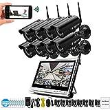 ZLMI 1080P 2MP Video Surveillance Kit inalámbrico LCD NVR cámara de Seguridad Sistema WiFi CCTV Set HD P2P tecnología visión Nocturna con 2TB Disco Duro (2/4/6/8 Canales),8CH