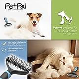 PetPäl Wohlfühl Hundebürste | Effektive Unterwollbürste | Massage Fell-Entfilzungsstriegel | Enthaarungs-Bürste | deShedding | Universal-Striegel für Mittel bis Langhaar | Schmerzfreies Ausdünnen | Effiziente Fellpflege | 2 Gratis Abstracts | 100% PetPäl-Zufriedenheitsgarantie (Blau) - 4
