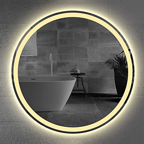 GETZ Espejo de Baño, Espejo de Baño con Luz LED de Montaje en Pared Antiniebla, Espejo de Tocador de Baño Iluminado con Retroiluminación LED Redondo Iluminado, Tamaño: Φ600mm, Φ700mm, Φ800mm