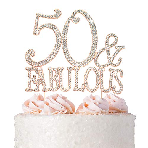50 Cake Topper - Premium Rose Gold Metal - 50 and Fabulous - 50th Birthday Party Sparkly Rhinestone Decoration Makes a Great Centerpiece - Now Protected in a Box