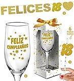 Inedit Festa Copa Cava 18 cumpleaños Guirnalda Felices 18 Dieciocho años Purpurina Dorada y 6 Cañas Cartón 18 años decoración Mesa