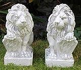OM Deko Garten Figuren Statuen Löwe mit bayrischem Wappen rechts und Links 2-er Satz aus Kunststoff Höhe 40 cm