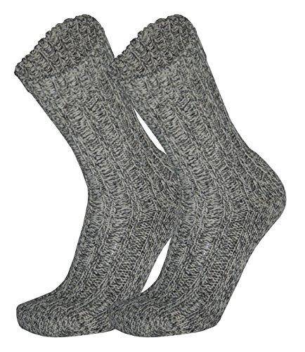 Tobeni 3 Paires de Chaussettes Norvegiennes Bas Hiver avec Laine de Mouton pour les Femme et les Homme Couleur Gris Tachete Taille 47-49