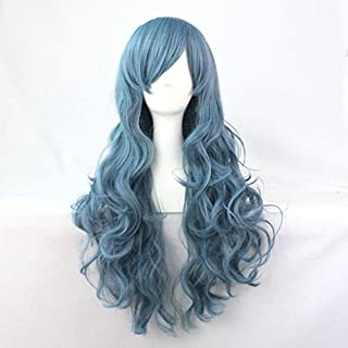 Beauty Wig World Mothers Day Blue Lolita Long Curly Wavy Fashion Hair Full Wig Anime Wigs Cosplay Party