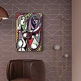 YuanMinglu Mujer en el sillón Arte de la Pared Lienzo Foto de la Pared en la Sala Pintura sin marco70x90cm