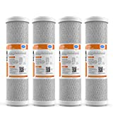 SimPure Carbon Water Filter, 5 Micron 10 x 2.5' Whole House Carbon Block Cartridge Replacement for Under Sink & Countertop Filtration System, Compatible WFPFC8002, WFPFC9001, FXWTC, SCWH-5, 4-Pack