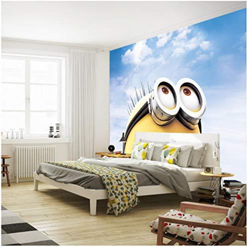 Hintergrundbild 3D Wallpaper Wohnzimmer 3D Cartoon Wallpaper Minions Fototapete Benutzerdefinierte Wandbild Junge Mädchen Kind Schlafzimmer Raumdekor Wohnzimmer Flur