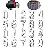 20 Piezas Números de Buzón 0-9 Números de Casa Números de Puertas Autoadhesivos Números Buzón Reflectantes para Casa Buzón (Plateado, 3 Pulgadas)