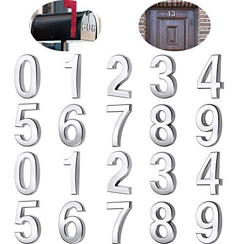 20 Stücke Mailbox Nummer 0-9 Adresse Nummern Selbstklebend Tür Nummer Reflektierend Mailbox Nummer für Haus Mailbox (Silber, 3 Zoll)