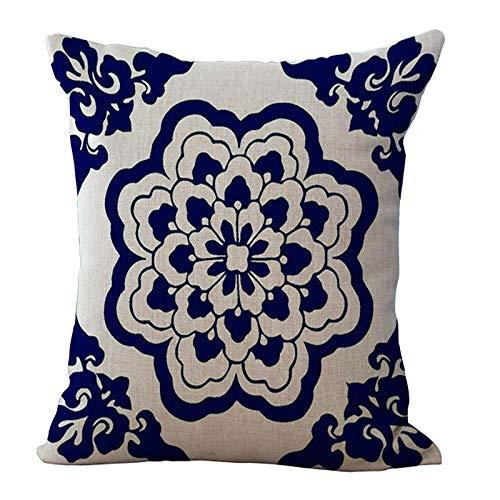 Oukeep Funda De Almohada Decorativa Clásica China, Impresión De Porcelana Azul Y Blanca, Sofá De Casa, Cojín De Dormitorio, Tela De Algodón Y Lino, Lavable