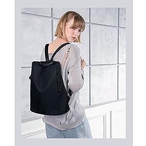 COOFIT Mochila para mujer, impermeable, de nailon, para el hombro, antirrobo, mochila diaria (todo negro)