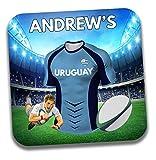 Cadeau personnalisé–Uruguay Maillot de rugby sur le thème Dessous-de-verre à bière/mat–Cadeau d'anniversaire–Cadeau