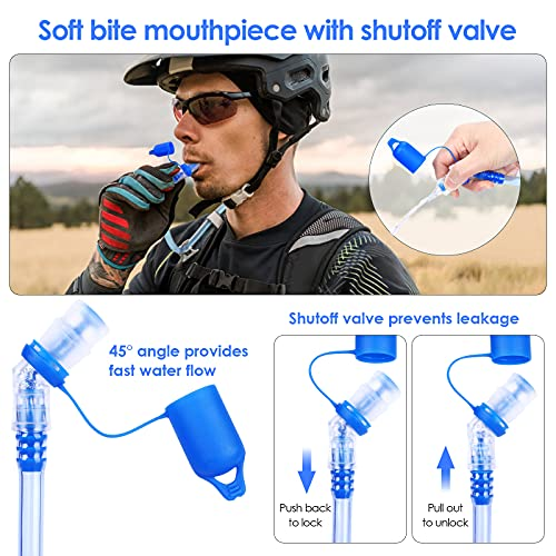 SKL Hydration Bladder 2 Liter Leakproof Water Reservoir, Water Storage Bladder Bag with Insulated Tube, Hydration Backpack Replacement for Outdoor Hiking Camping Running Cycling