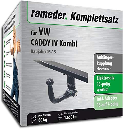 Rameder Komplettsatz, Anhängerkupplung abnehmbar + 13pol Elektrik für VW Caddy IV Kombi (123662-14302-5)
