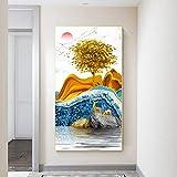 Arte de paisaje abstracto moderno Animal ciervo arte lienzo pintura Cuadros impresión arte de pared para la decoración del hogar de la sala de estar 40x70 CM (sin marco)