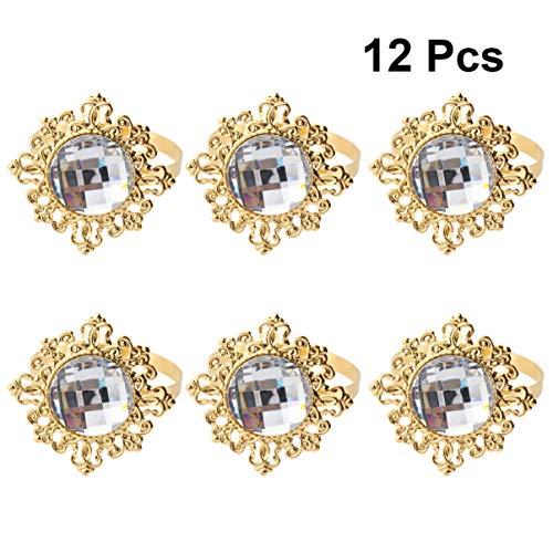 Pixnor Serviettenring, Diamantringe für Hochzeitsbankett, Abendessen, Servietten-Halter, 12Stück