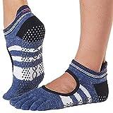 Toesox - Calcetines antideslizantes para mujer con agarre de pilates, para yoga y ballet, Iconic, Mujer, color Azul (icónico)., tamaño M