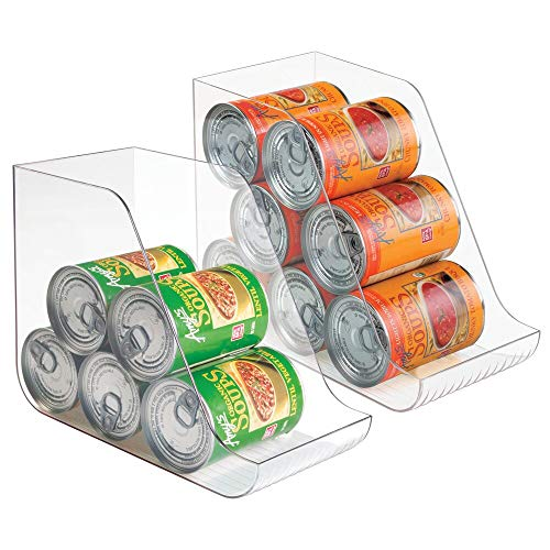 mDesign Large Standing Kitchen Can Dispenser Storage Organizer Bin for Canned Food, Soup, Dog Food, Pop/Soda - Compact Vertical Holder - 2 Pack - Clear