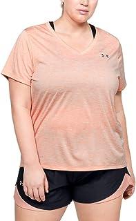 Under Armour Tech Short Sleeve V - Twist, T-Shirt Femme, Black / Metallic Silver, XL