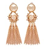 Bohemian Tassel Chandelier Dangle Earring For Women Clip On Earrings Long Drop Statement Earrings (gold)