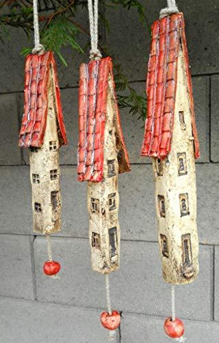 3 Keramik Windspiel Häuser rot beige Gartendeko Baumdeko Sommer