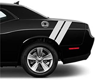 4 Inch Rear Fender Hash Mark Bars Carbon Fiber Vinyl Rally Racing Stripes, Fits Dodge Challenger, Both Sides, Silver