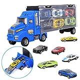 m zimoon Camiones de Juguete para Niños, Transportador de Automóviles Camion Transportador de Coches con 12 Mini Coches de Metal Coloridos para Niños y Niñas