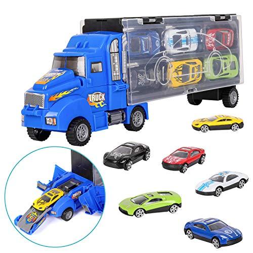 Camiones de Juguete para Niños, Juguete Camión de Transporte Transportador de Automóvil con 12 Mini Coches de Metal Coloridos para Niños y Niñas