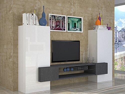 möbelando Wohnwand Wohnzimmerschrank Mediawand Fernsehschrank Schrank TV Akka I