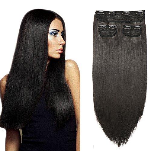 SEGO Extension à Clip Naturel Cheveux Elastique Lisse 3 Pcs - Rajout Cheveux Tout Droit Lisse Clip In Hair Extension Hairpiece pour Les Femmes - 50 cm Noir naturel