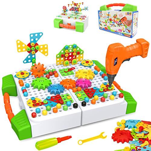 HOMETTER Bauspielzeug with Elektrische Bohrmaschine, 181 Stücke Konstruktionsspielzeug STEM Mint-Lernspiel für 3 4 5 6 7 8 9 10+ Jahren Junge und Mädchen