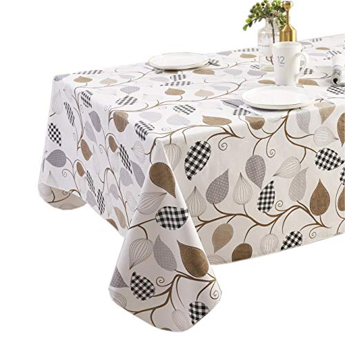 Effortlife Flannel Backed Vinyl Oilcloth Tablecloth Wipe Clean PVC Table Cover Oil-Proof/Waterproof Square Plastic Tablecloths for Kitchen Dinning Tabletop Decor 60 x 60 Inch