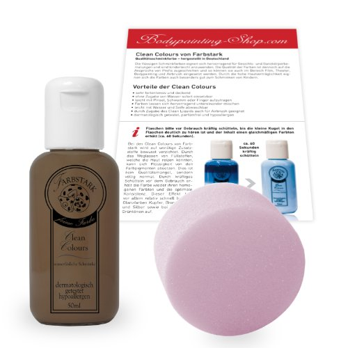 Farbstark Bodypainting Farben - hautfreundliche Körperfarbe in Profi Qualität (auch für Airbrush geeignet), Set: 50 ml Farbe + Schminkschwamm (Mittelbraun)